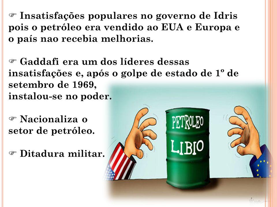 Insatisfações populares no governo de Idris pois o petróleo era vendido ao EUA e Europa e o país nao recebia melhorias.