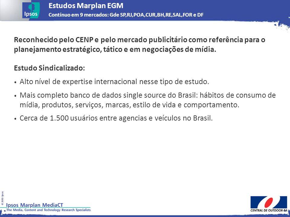 Estudos Marplan EGM Contínuo em 9 mercados: Gde SP,RJ,POA,CUR,BH,RE,SAL,FOR e DF