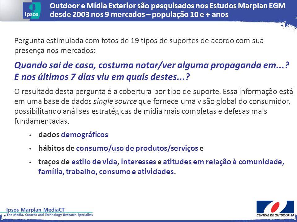 Outdoor e Mídia Exterior são pesquisados nos Estudos Marplan EGM desde 2003 nos 9 mercados – população 10 e + anos