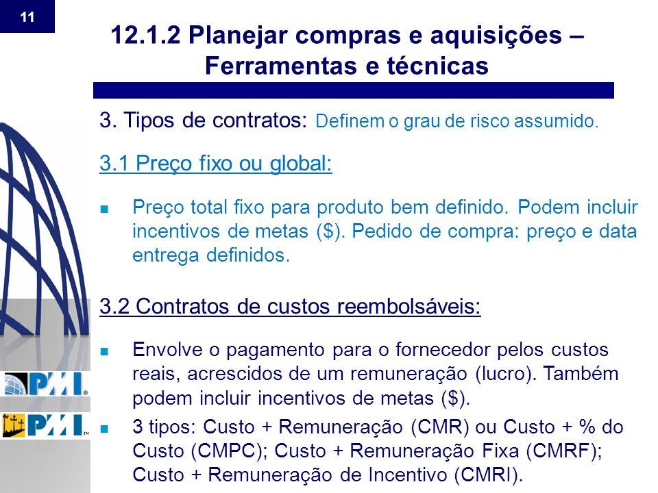 12.1.2 Planejar compras e aquisições – Ferramentas e técnicas