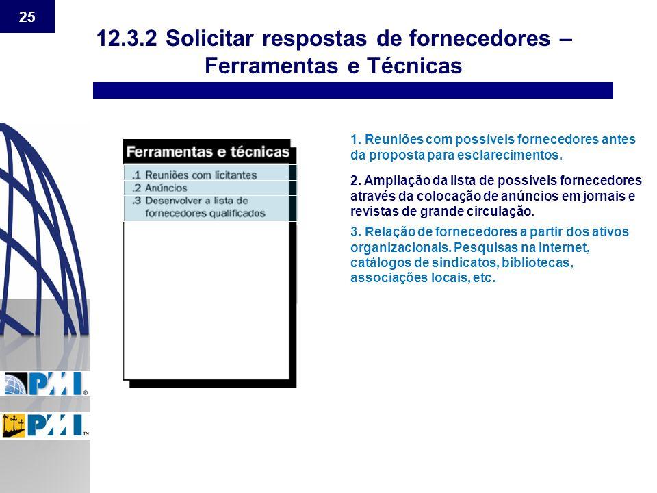 12.3.2 Solicitar respostas de fornecedores – Ferramentas e Técnicas