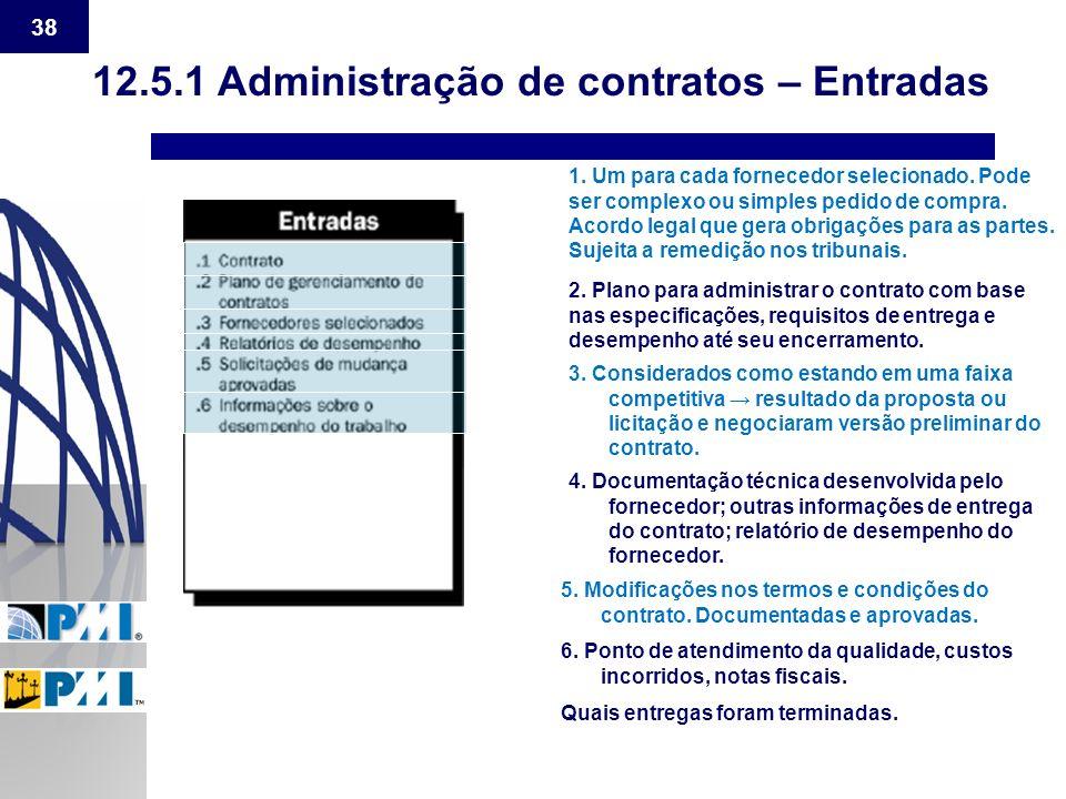 12.5.1 Administração de contratos – Entradas