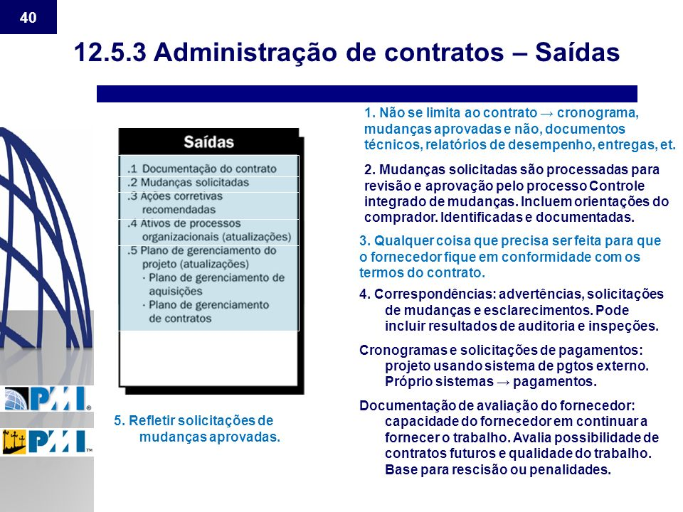 12.5.3 Administração de contratos – Saídas