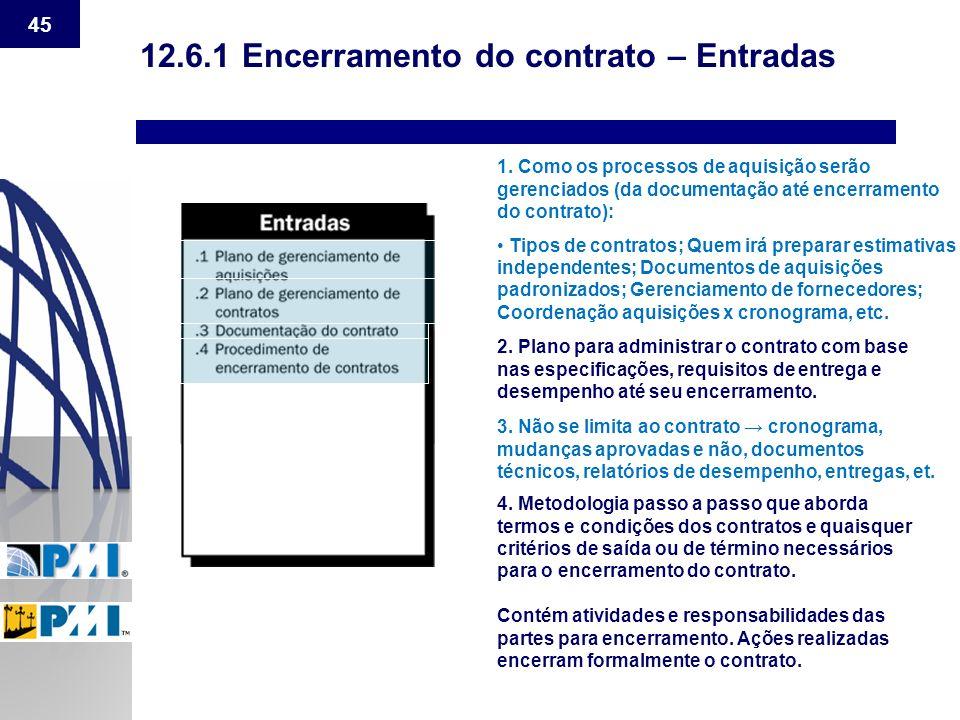 12.6.1 Encerramento do contrato – Entradas