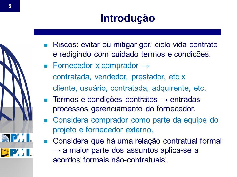 Introdução Riscos: evitar ou mitigar ger. ciclo vida contrato e redigindo com cuidado termos e condições.