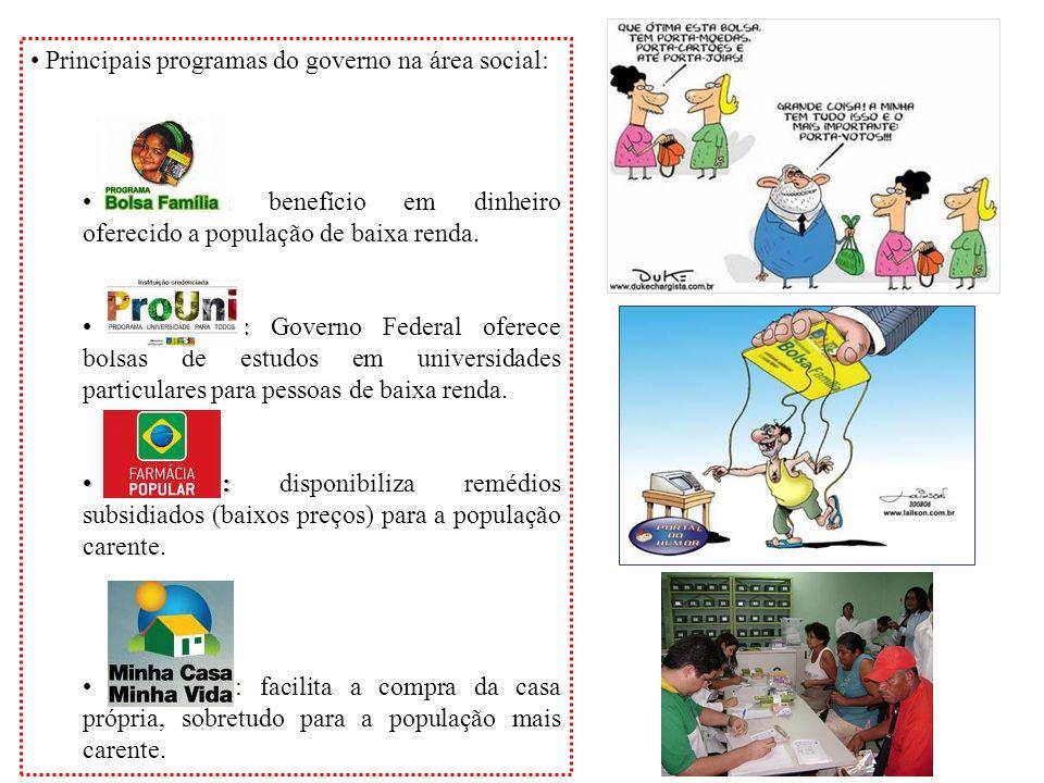 Principais programas do governo na área social: