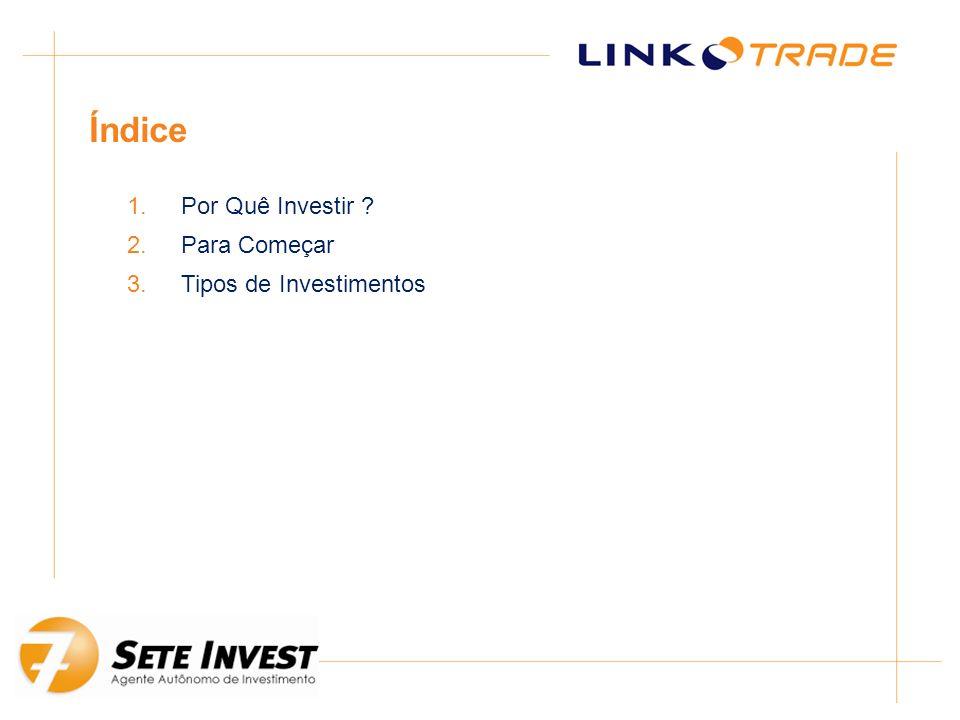 Índice Por Quê Investir Para Começar Tipos de Investimentos
