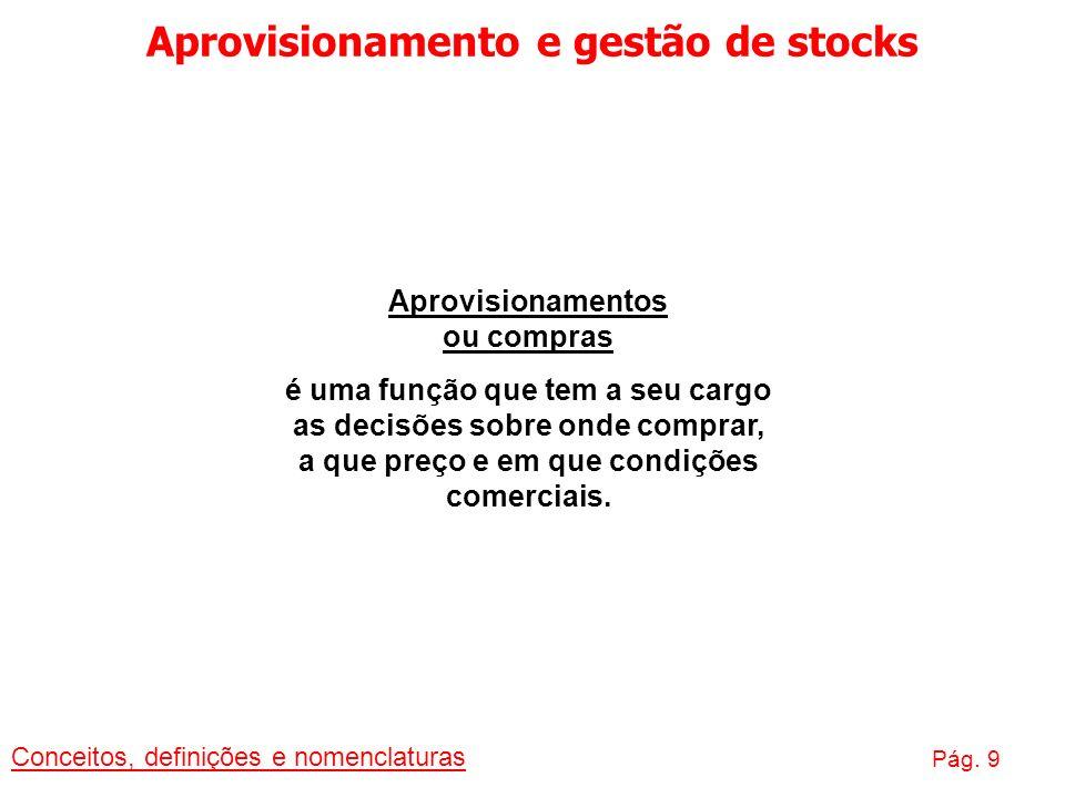 Aprovisionamento e gestão de stocks Aprovisionamentos ou compras