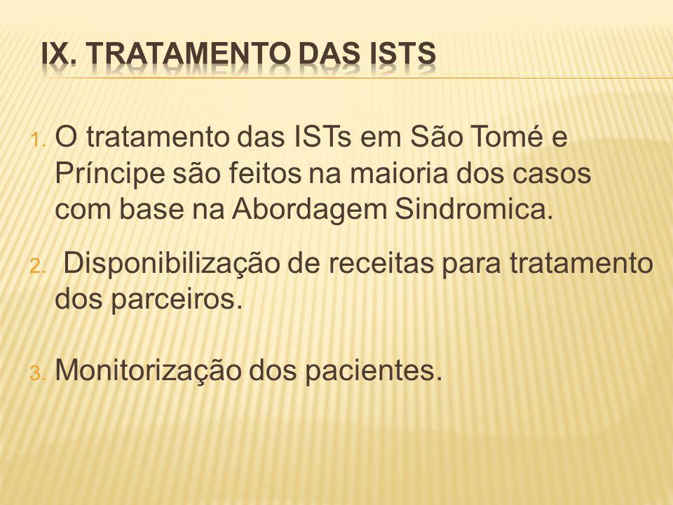 IX. TRATAMENTO DAS ISTs O tratamento das ISTs em São Tomé e Príncipe são feitos na maioria dos casos com base na Abordagem Sindromica.