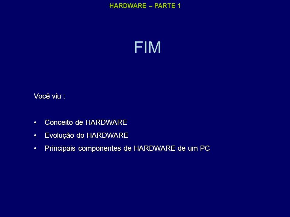 FIM Você viu : Conceito de HARDWARE Evolução do HARDWARE