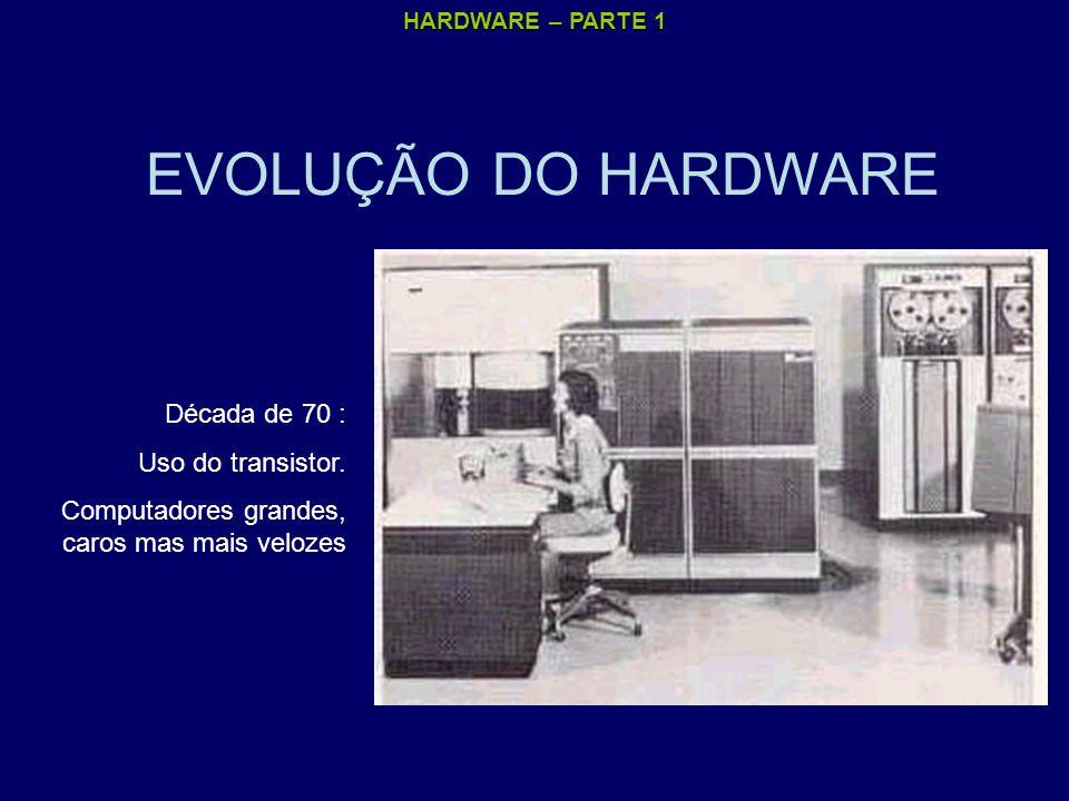EVOLUÇÃO DO HARDWARE Década de 70 : Uso do transistor.