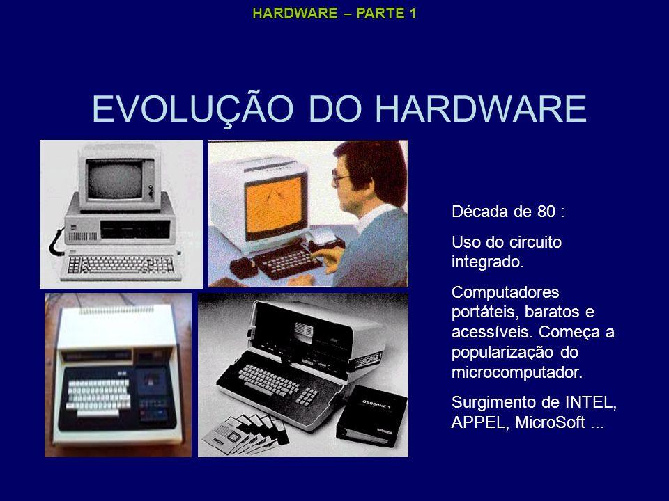 EVOLUÇÃO DO HARDWARE Década de 80 : Uso do circuito integrado.
