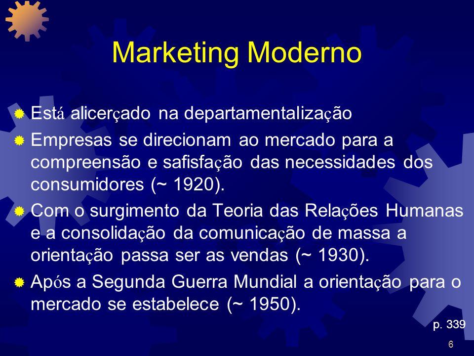 Marketing Moderno Está alicerçado na departamentalização