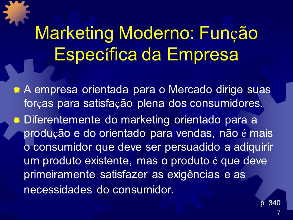 Marketing Moderno: Função Específica da Empresa