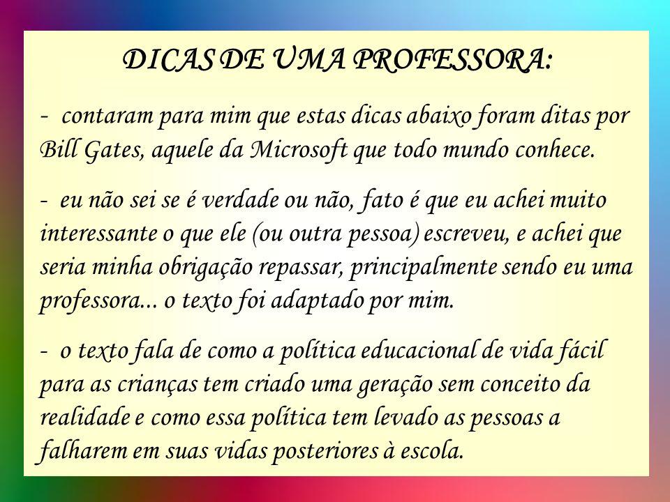 DICAS DE UMA PROFESSORA: