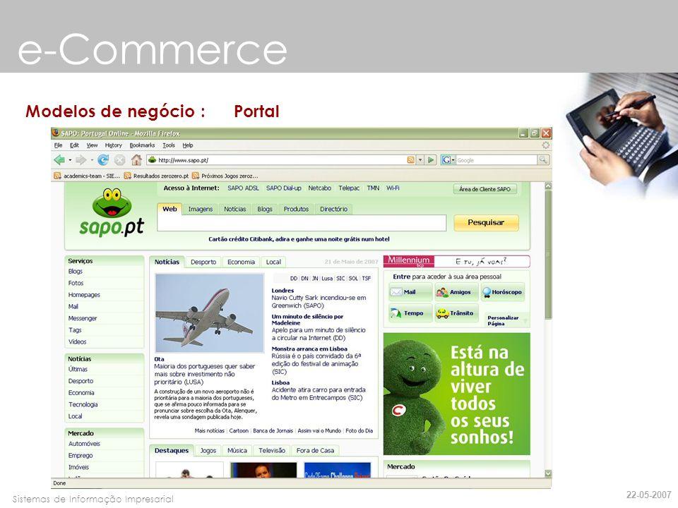 e-Commerce Modelos de negócio : Portal 22-05-2007