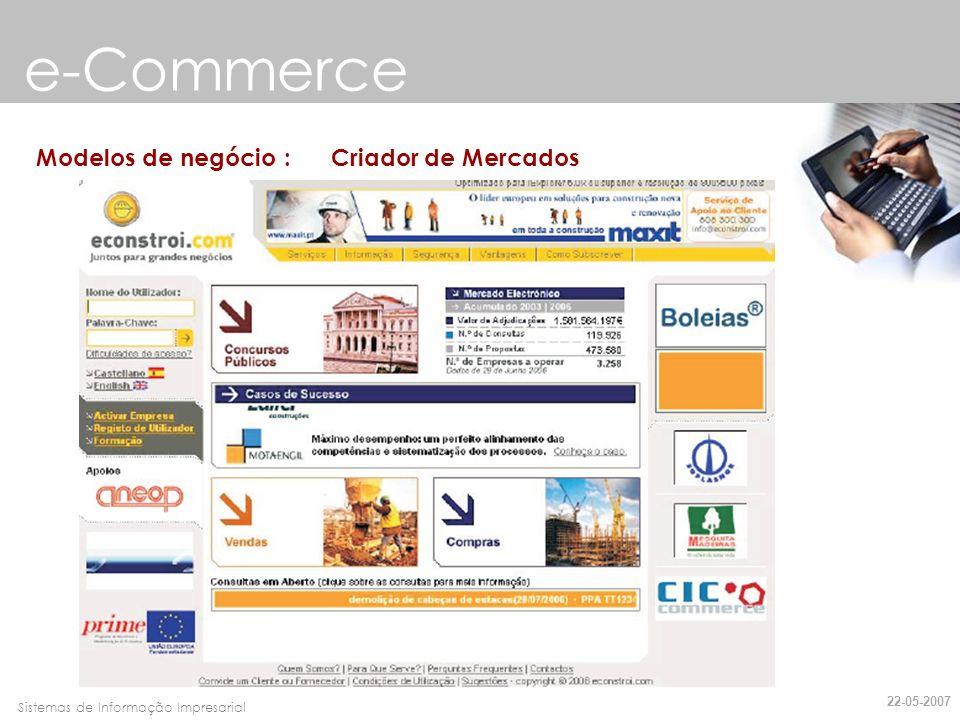 e-Commerce Modelos de negócio : Criador de Mercados 22-05-2007