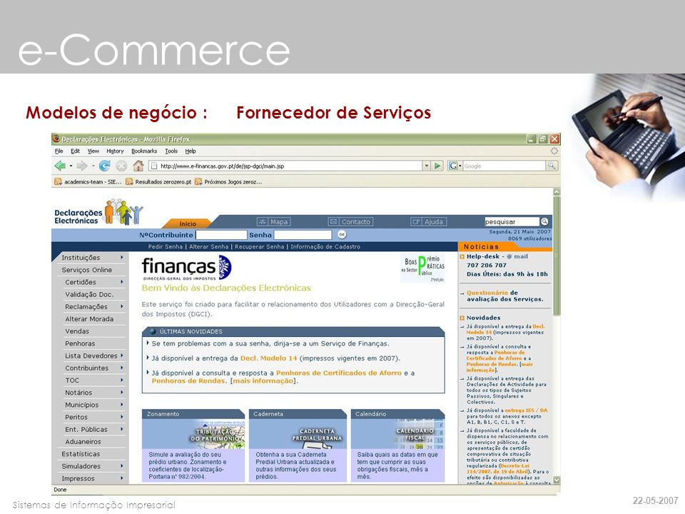 e-Commerce Modelos de negócio : Fornecedor de Serviços 22-05-2007