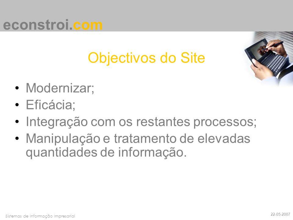 econstroi.com Objectivos do Site Modernizar; Eficácia;