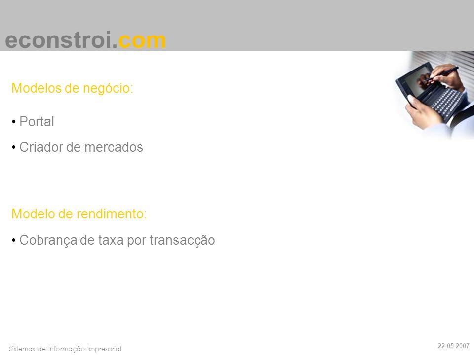econstroi.com Modelos de negócio: Portal Criador de mercados