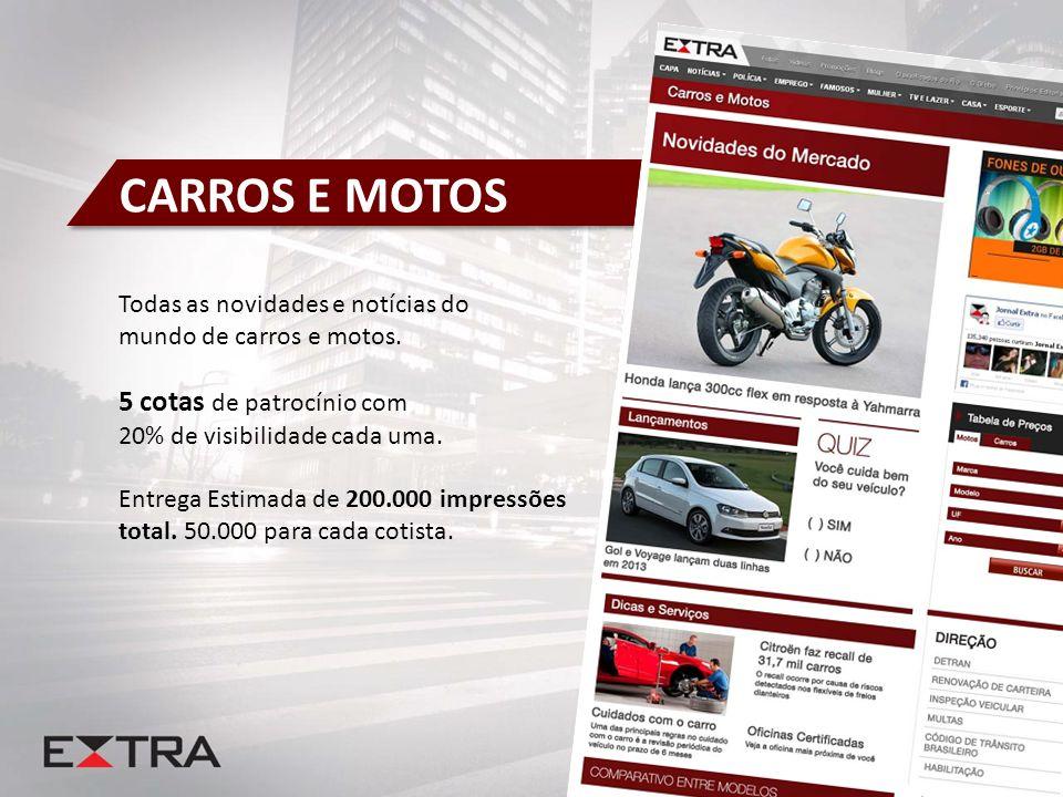 CARROS E MOTOS 5 cotas de patrocínio com