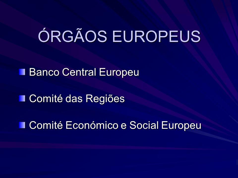 ÓRGÃOS EUROPEUS Banco Central Europeu Comité das Regiões