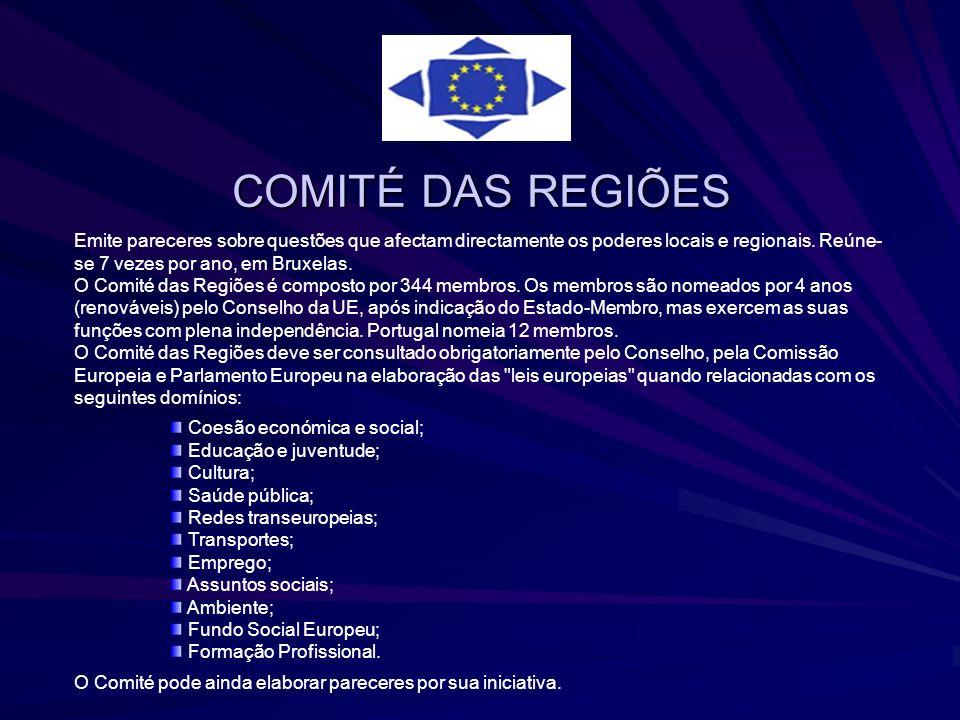 COMITÉ DAS REGIÕES Emite pareceres sobre questões que afectam directamente os poderes locais e regionais. Reúne-se 7 vezes por ano, em Bruxelas.