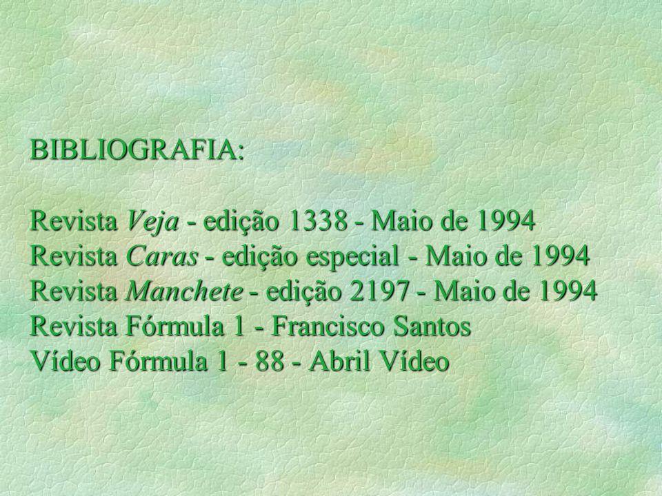 BIBLIOGRAFIA: Revista Veja - edição 1338 - Maio de 1994 Revista Caras - edição especial - Maio de 1994 Revista Manchete - edição 2197 - Maio de 1994 Revista Fórmula 1 - Francisco Santos Vídeo Fórmula 1 - 88 - Abril Vídeo