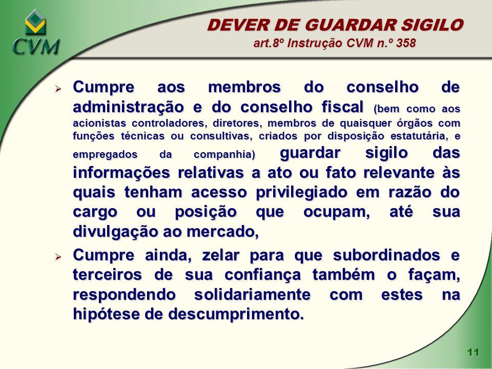 DEVER DE GUARDAR SIGILO art.8º Instrução CVM n.º 358