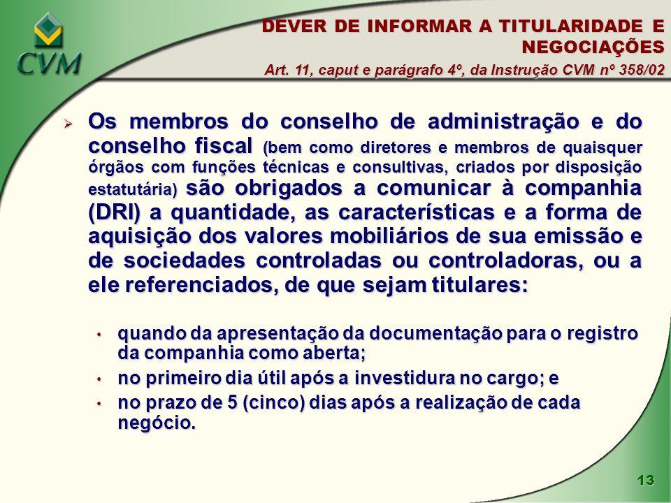 DEVER DE INFORMAR A TITULARIDADE E NEGOCIAÇÕES