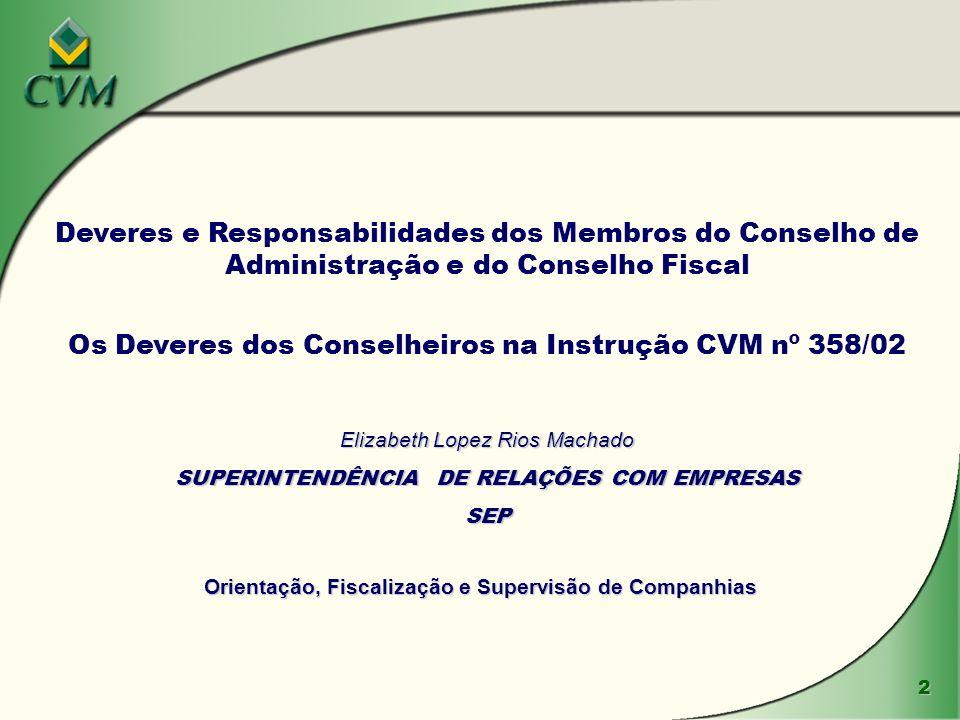 Os Deveres dos Conselheiros na Instrução CVM nº 358/02
