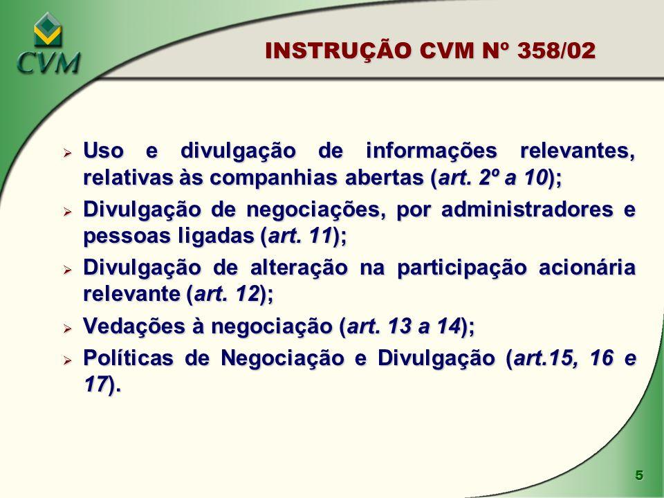 Divulgação de alteração na participação acionária relevante (art. 12);