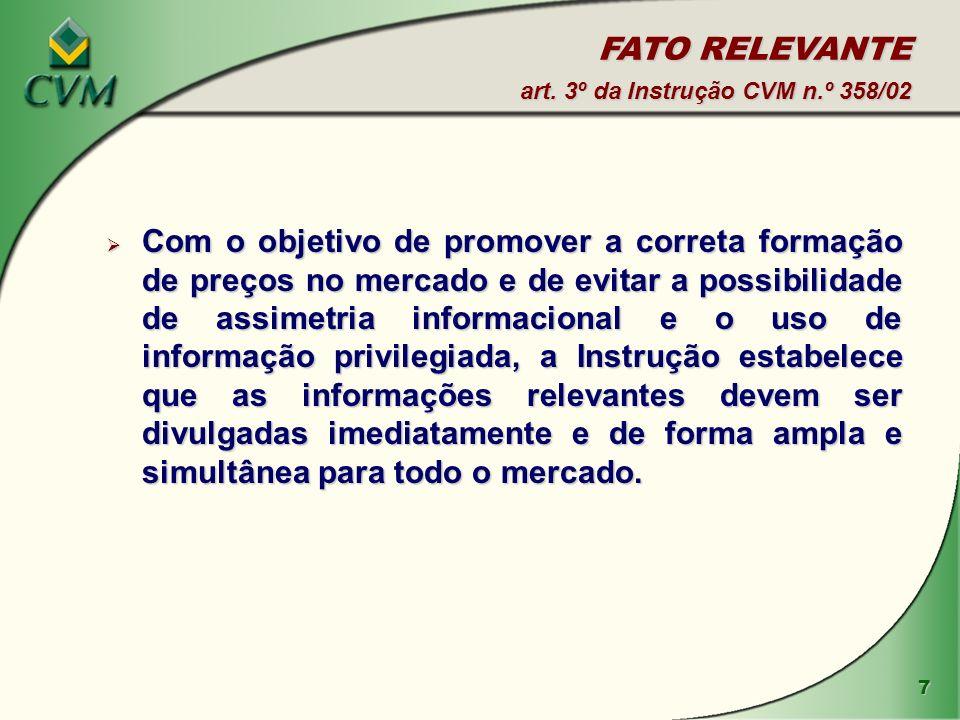FATO RELEVANTE art. 3º da Instrução CVM n.º 358/02