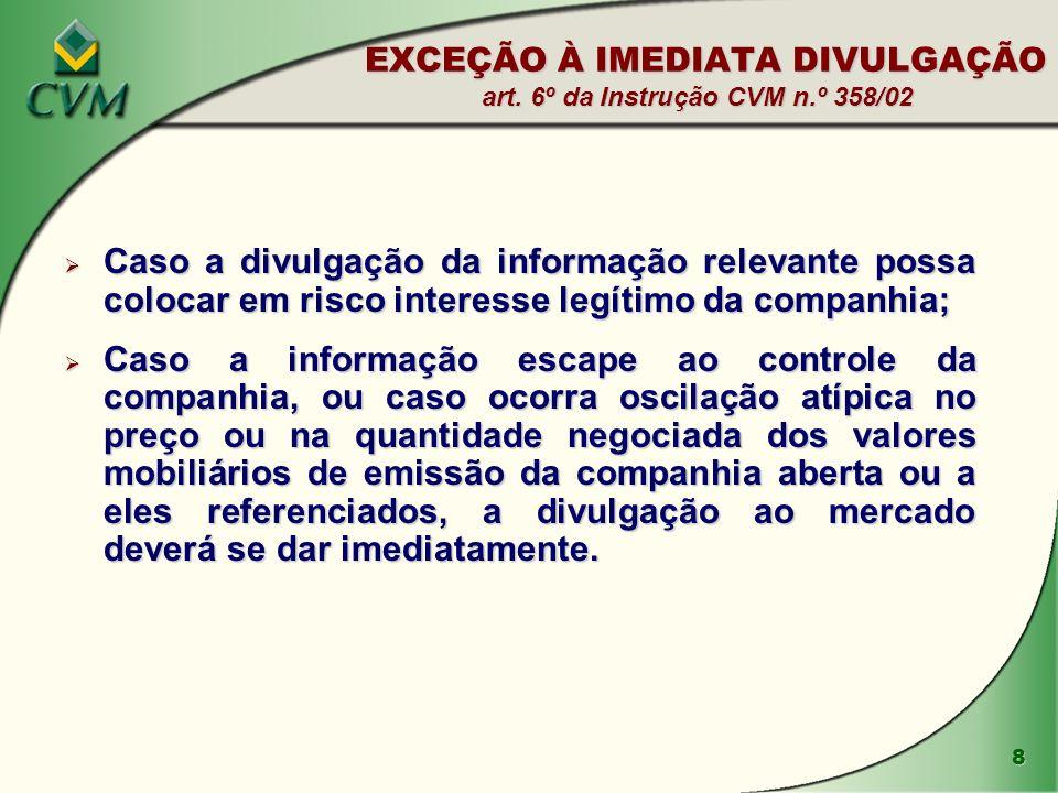 EXCEÇÃO À IMEDIATA DIVULGAÇÃO art. 6º da Instrução CVM n.º 358/02