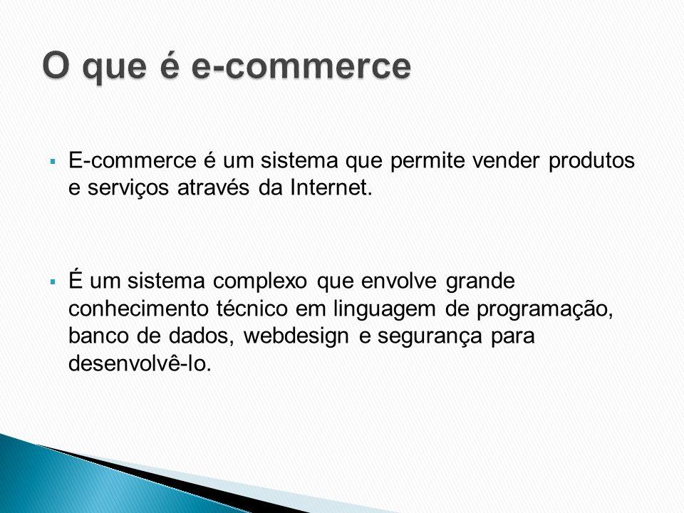 O que é e-commerce E-commerce é um sistema que permite vender produtos e serviços através da Internet.