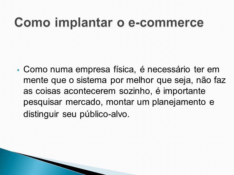 Como implantar o e-commerce
