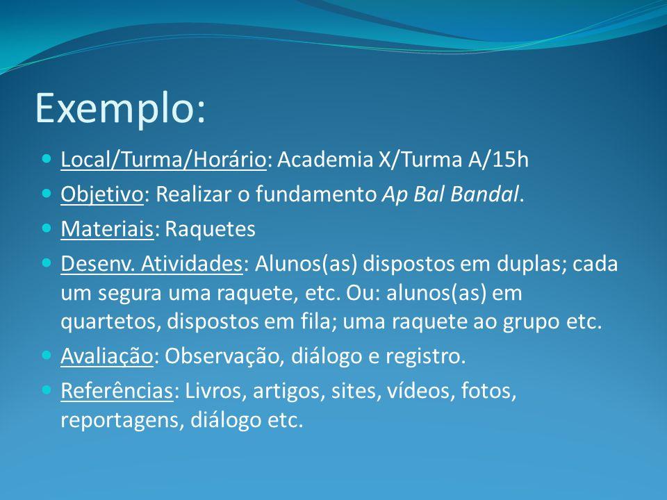 Exemplo: Local/Turma/Horário: Academia X/Turma A/15h
