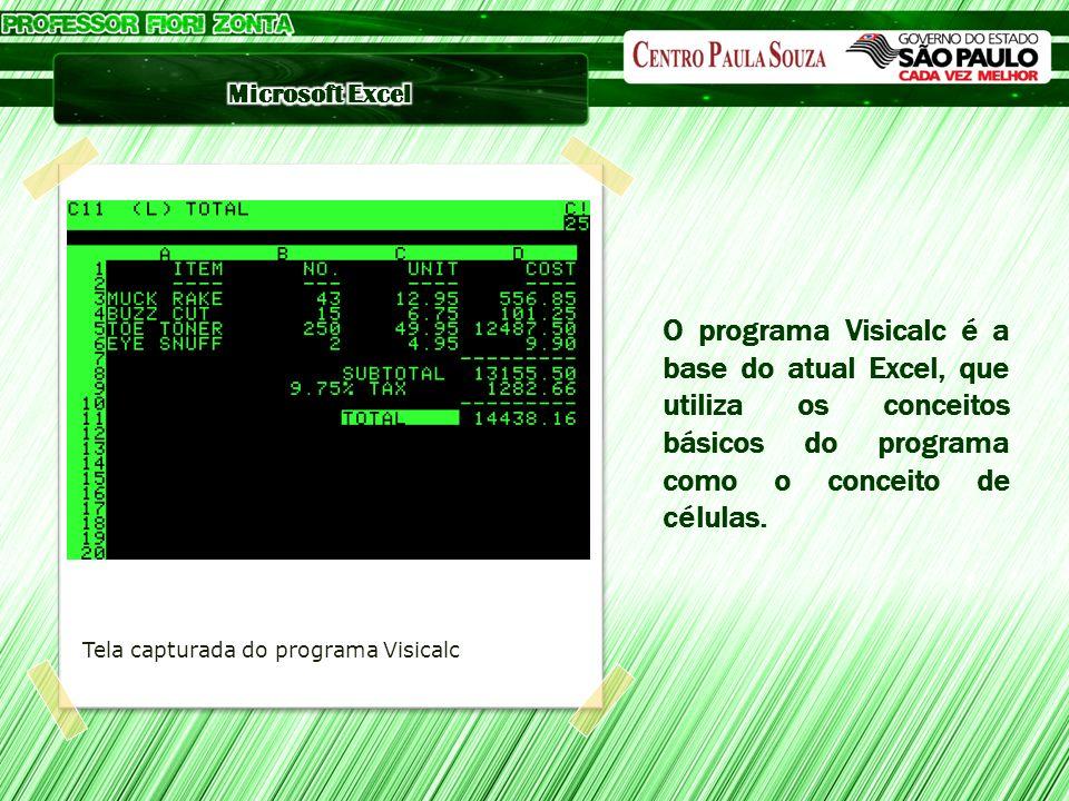 O programa Visicalc é a base do atual Excel, que utiliza os conceitos básicos do programa como o conceito de células.