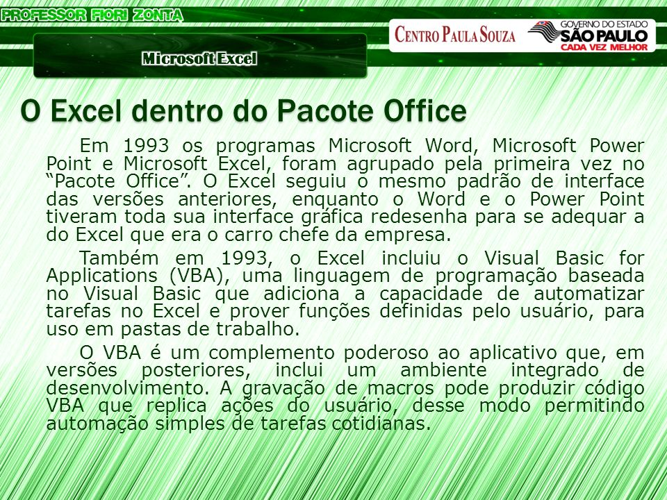 O Excel dentro do Pacote Office