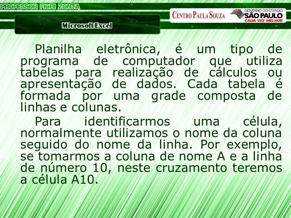 Planilha eletrônica, é um tipo de programa de computador que utiliza tabelas para realização de cálculos ou apresentação de dados.