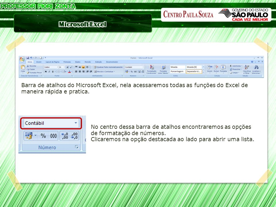 Barra de atalhos do Microsoft Excel, nela acessaremos todas as funções do Excel de maneira rápida e pratica.