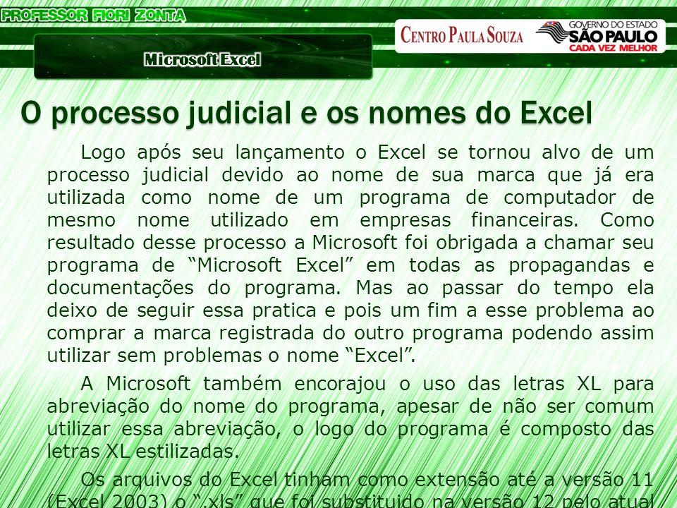 O processo judicial e os nomes do Excel