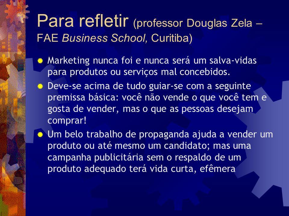 Para refletir (professor Douglas Zela – FAE Business School, Curitiba)