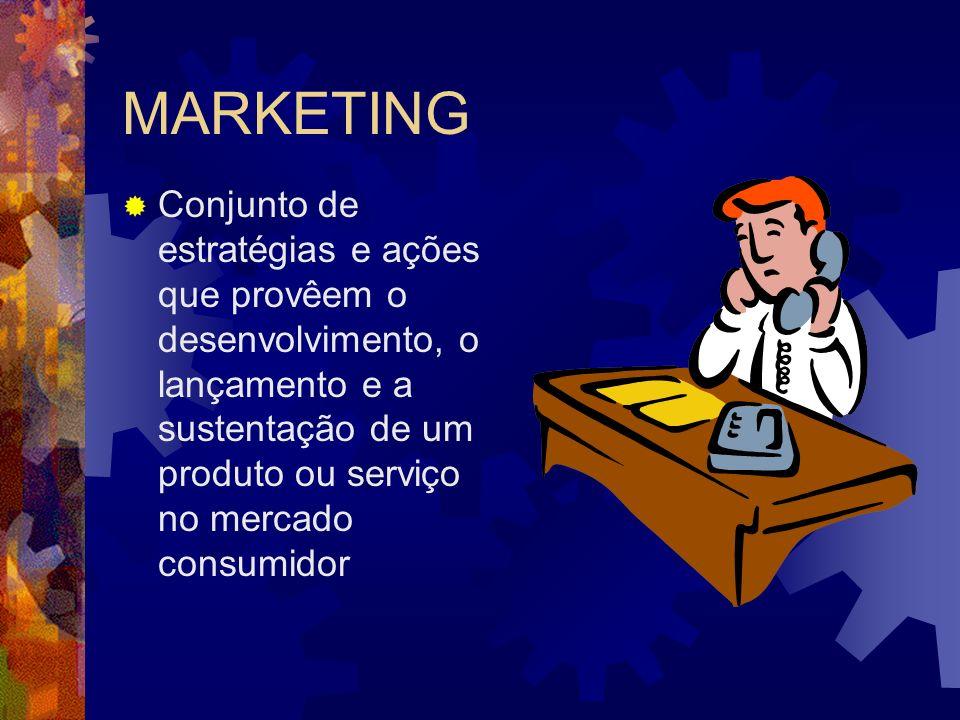 MARKETING Conjunto de estratégias e ações que provêem o desenvolvimento, o lançamento e a sustentação de um produto ou serviço no mercado consumidor.