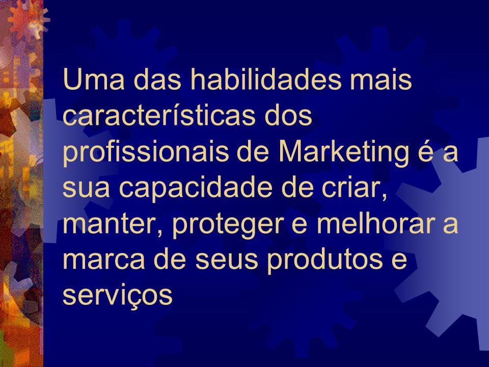 Uma das habilidades mais características dos profissionais de Marketing é a sua capacidade de criar, manter, proteger e melhorar a marca de seus produtos e serviços