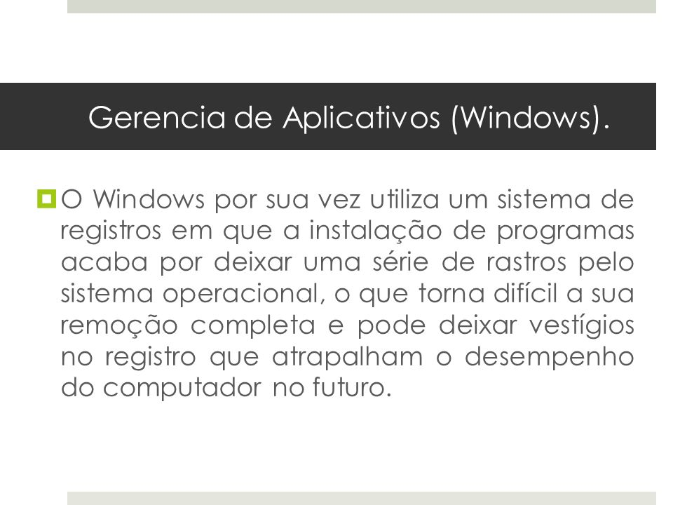 Gerencia de Aplicativos (Windows).