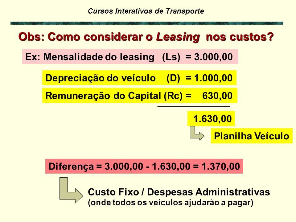 Obs: Como considerar o Leasing nos custos
