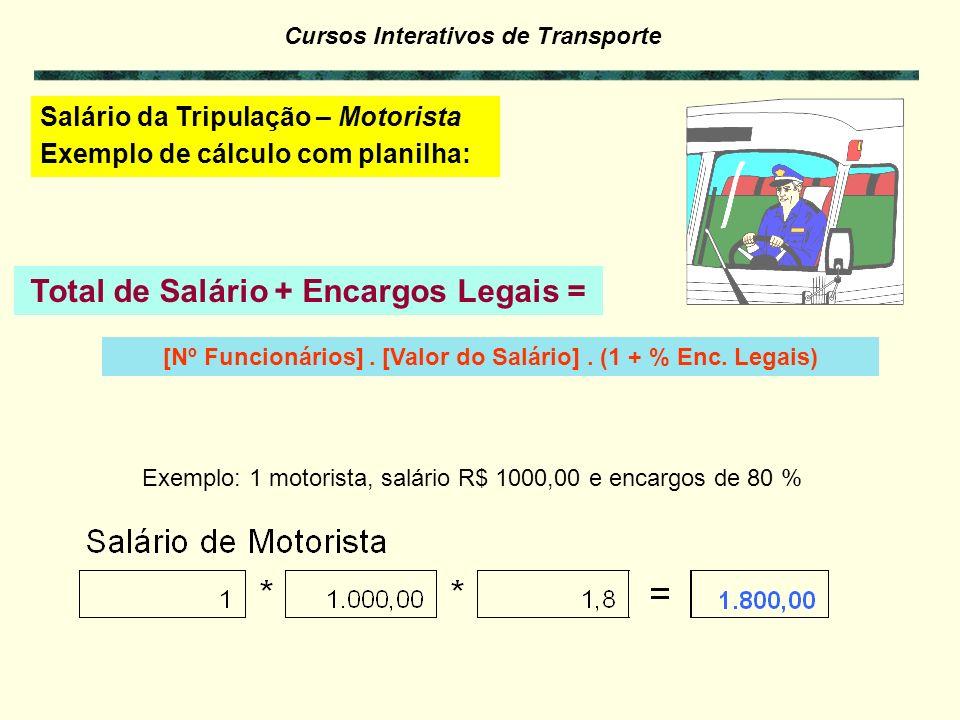 Total de Salário + Encargos Legais =
