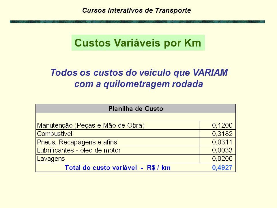 Todos os custos do veículo que VARIAM com a quilometragem rodada