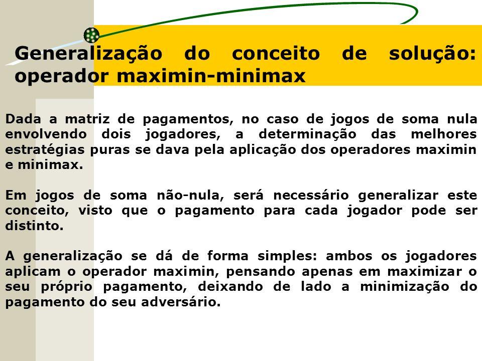 Generalização do conceito de solução: operador maximin-minimax